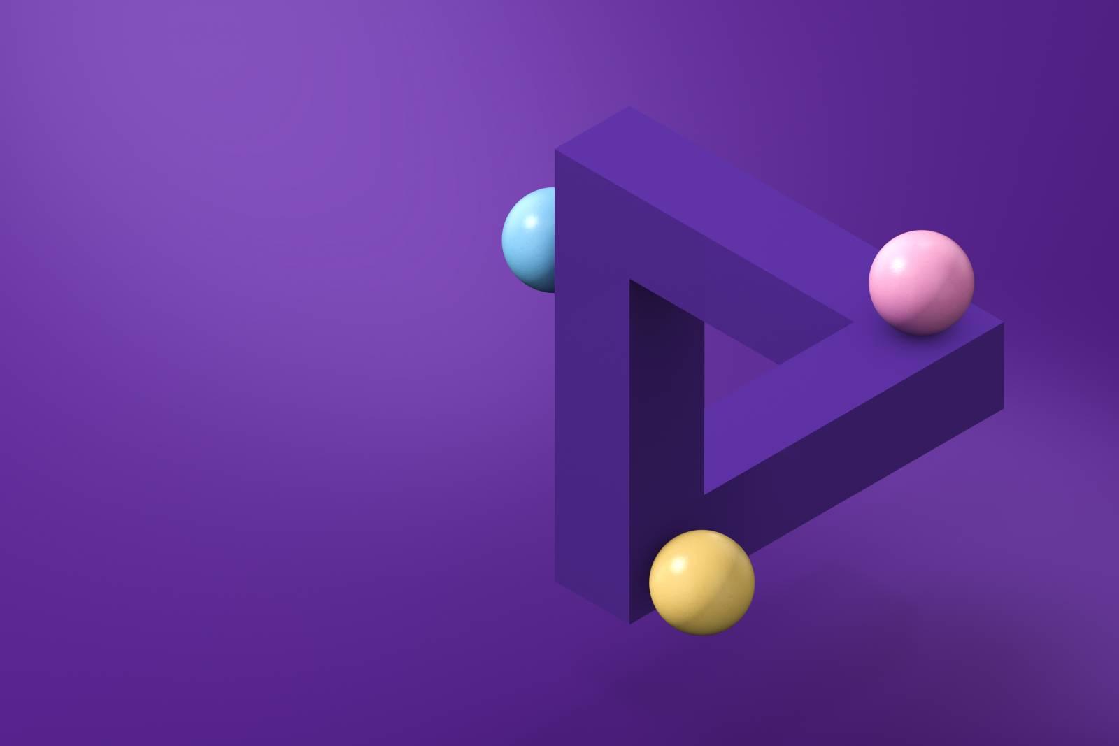 Kuvituskuva. Juniversityn graaafisen ilmeen mukainen Penrosen kolmio.