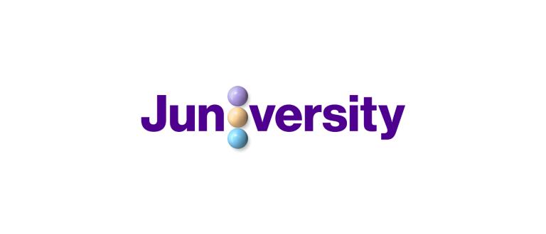 Juniversityn vaakasuuntainen violetti logo,