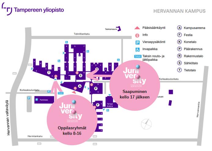 Tampereen yliopiston Hervannan kampuksen kartta, johon merkattuna Juniversityn sisäänkäynneillä normaalioloissa.