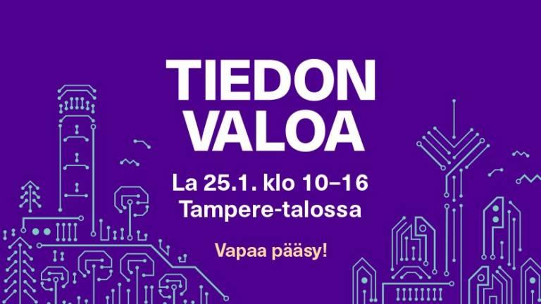 Tiedon valoa -tiedetapahtuma Tampere talossa, järjestäjänä Tampereen yliopisto