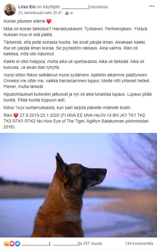 Kuvakaappaus koiran muistokirjoituksesta facebookissa