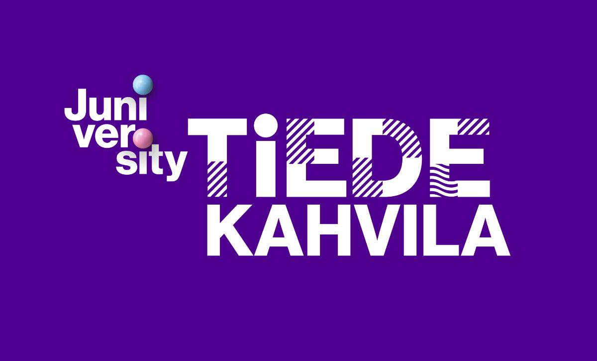 Tampereen yliopiston juniversityn Tiedekahvilan logo violetilla pohjalla.