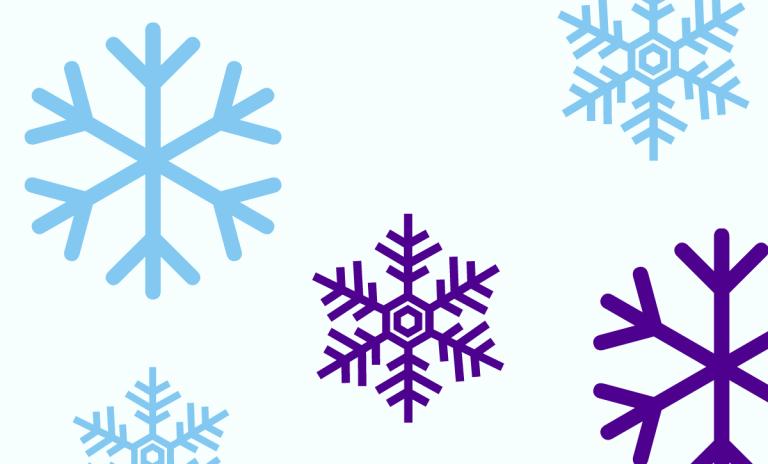 Kuvituskuva, lumihiutaleita.