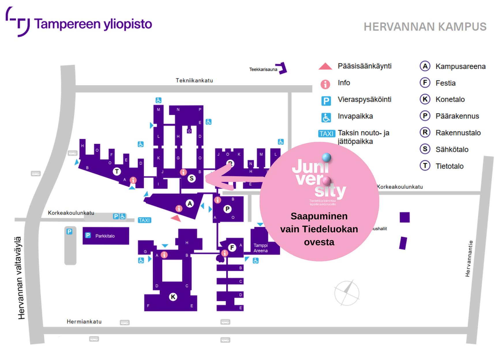 Tampereen yliopiston Hervannan kampuksen kartta, johon merkattu juniversityn ulko-ovi.
