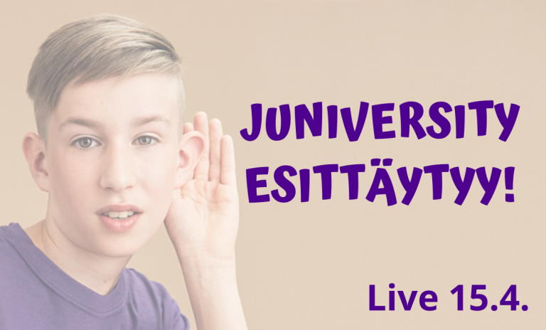 """Bannerikuva, jossa taustalla valokuva lapsesta käsi korvalla kuuntelemassa. Kuvassa violetti teksti """"Juniversity esittäytyy"""" sekä """"Live 15.4.""""."""