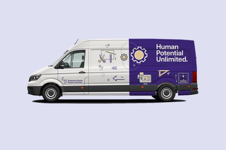 Mobile Juniversityn pakettiauto violetilla taustalla