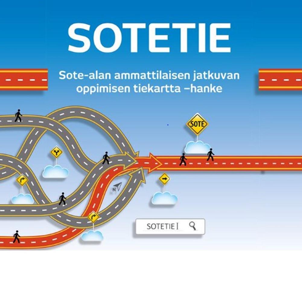 Sote-alan ammattilaisen jatkuvan oppimisen tiekartta SOTETIE -hankkeen tunnuskuva, jossa eri suunnista tulevat ja risteävät yhdistyvät yhdeksi tieksi.